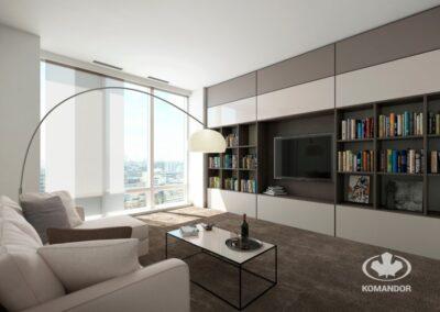 Modern nappali szekrény bérházban