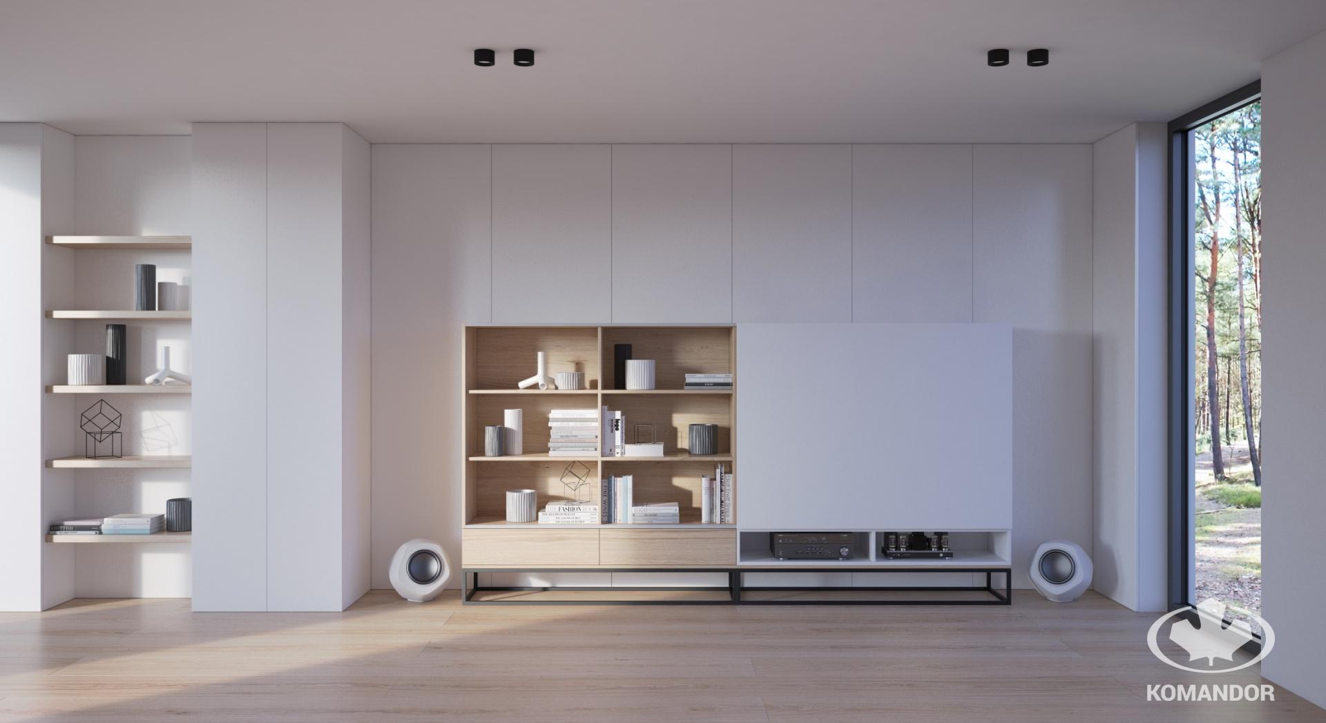 minimalista fehér beépített szekrény