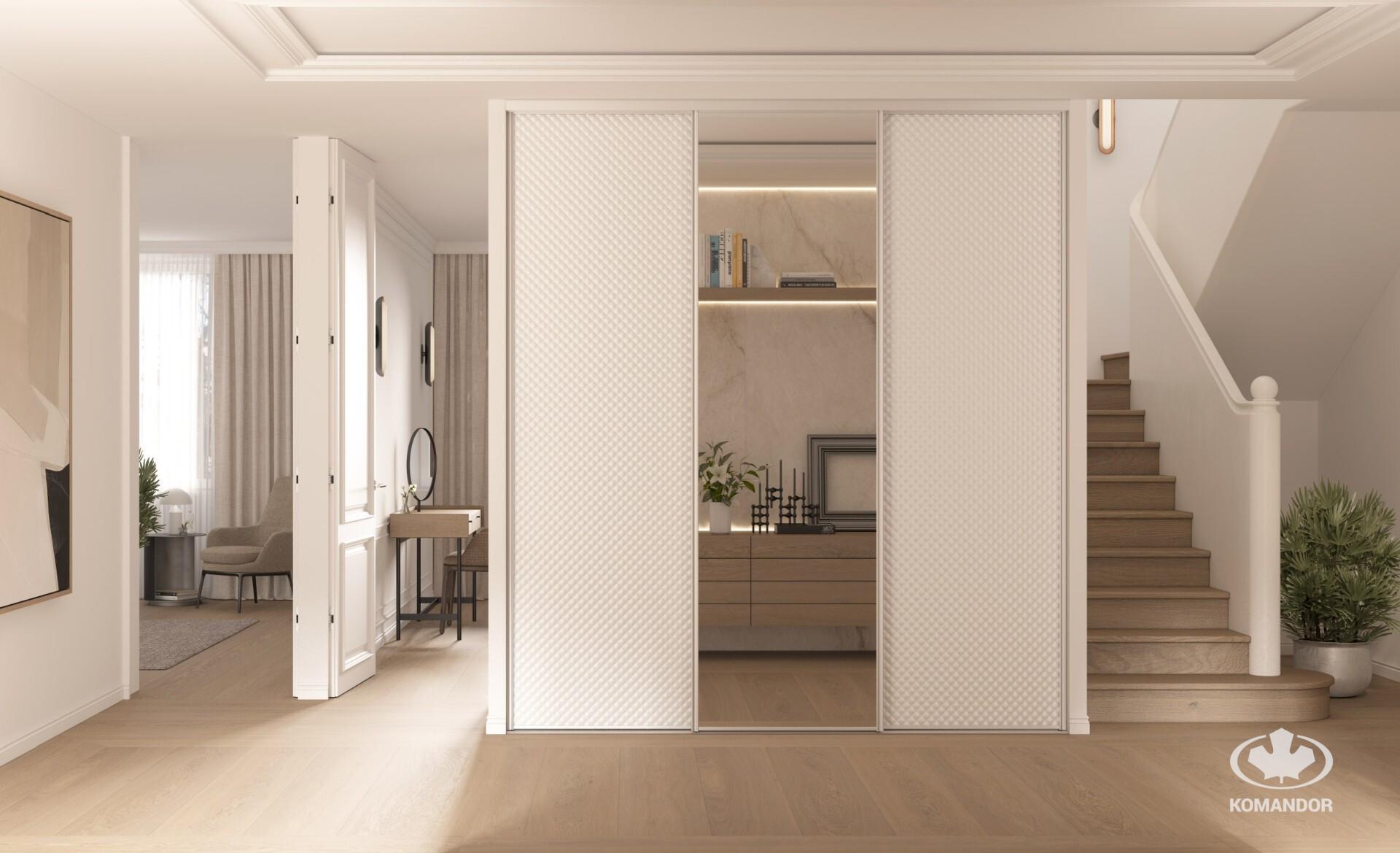 Tükrös nappali beépített szekrény elegáns bőr borítással