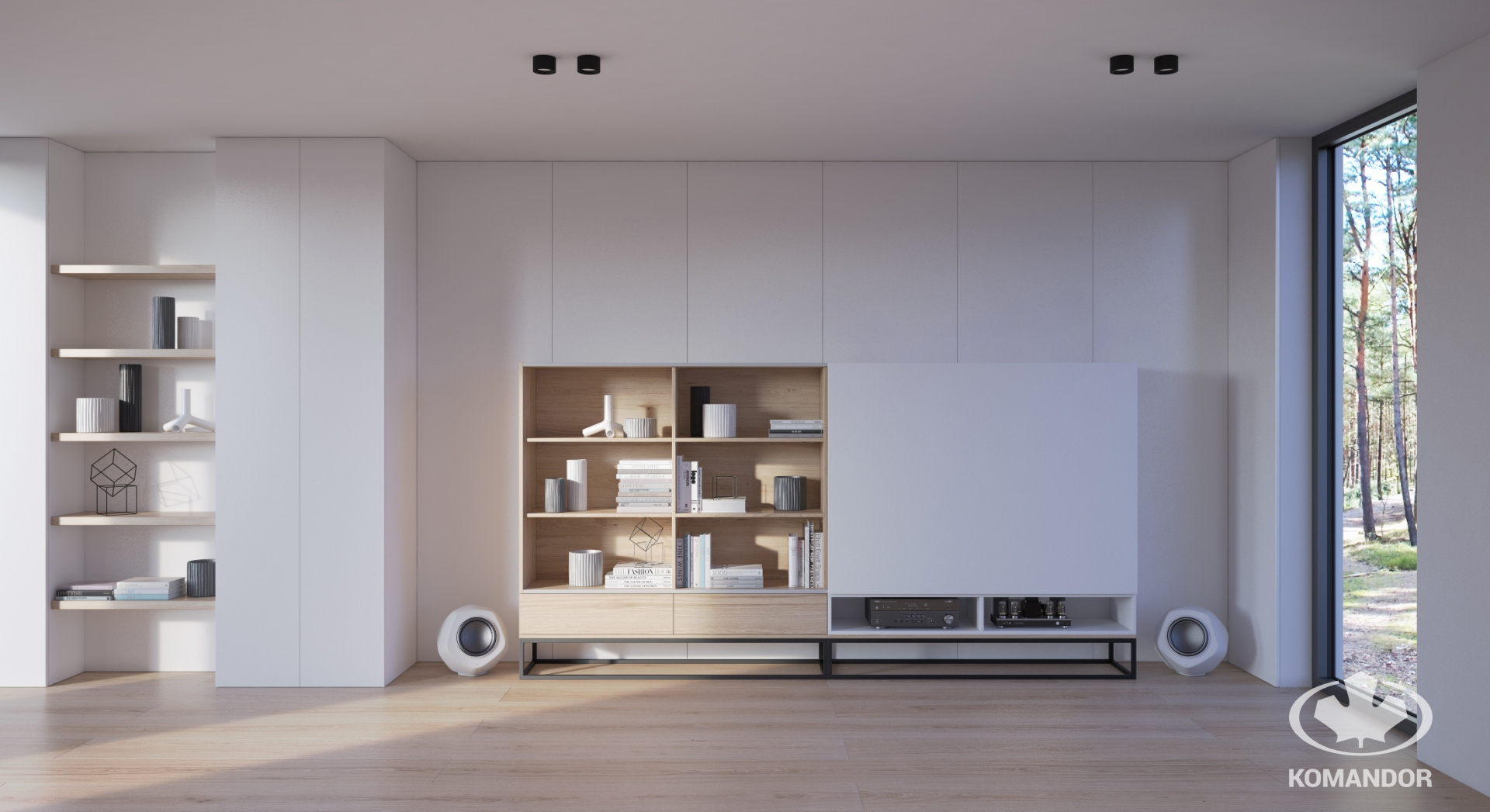 Fehér teljes falas nappali beépített szekrény